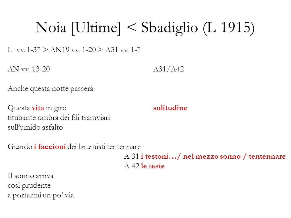 Noia [Ultime] < Sbadiglio (L 1915) L vv. 1-37 > AN19 vv. 1-20 > A31 vv. 1-7 AN vv. 13-20A31/A42 Anche questa notte passerà Questa vita in girosolitudi