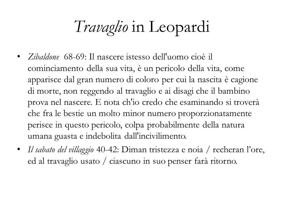 Travaglio in Leopardi Zibaldone 68-69: Il nascere istesso dell'uomo cioè il cominciamento della sua vita, è un pericolo della vita, come apparisce dal