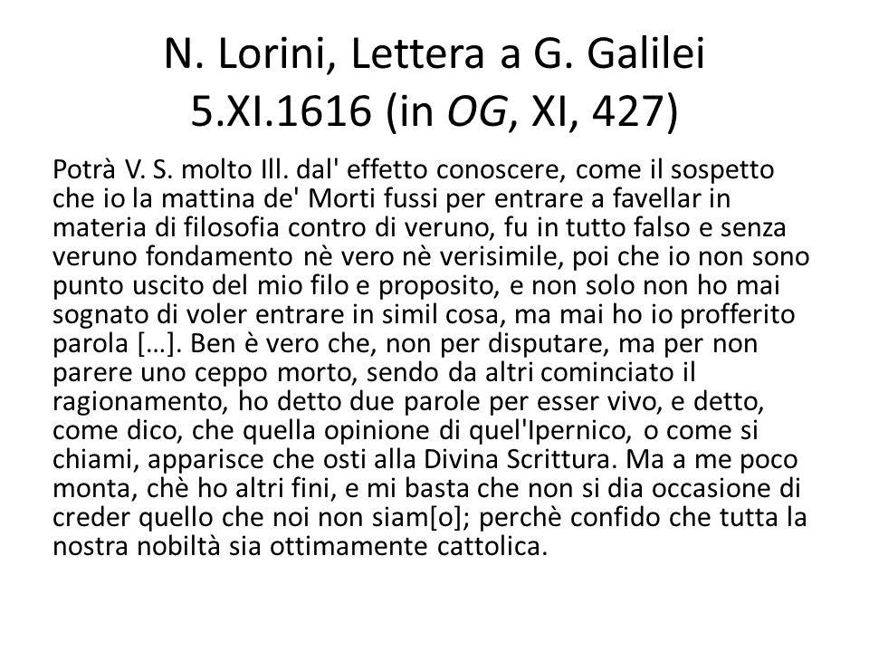 N. Lorini, Lettera a G. Galilei 5.XI.1616 (in OG, XI, 427) Potrà V. S. molto Ill. dal' effetto conoscere, come il sospetto che io la mattina de' Morti