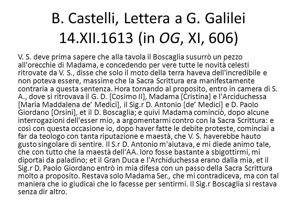 B. Castelli, Lettera a G. Galilei 14.XII.1613 (in OG, XI, 606) V. S. deve prima sapere che alla tavola il Boscaglia susurrò un pezzo all'orecchie di M