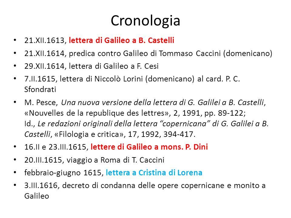 Cronologia 21.XII.1613, lettera di Galileo a B. Castelli 21.XII.1614, predica contro Galileo di Tommaso Caccini (domenicano) 29.XII.1614, lettera di G