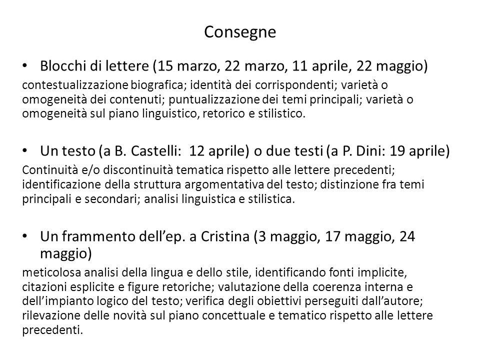 Consegne Blocchi di lettere (15 marzo, 22 marzo, 11 aprile, 22 maggio) contestualizzazione biografica; identità dei corrispondenti; varietà o omogenei