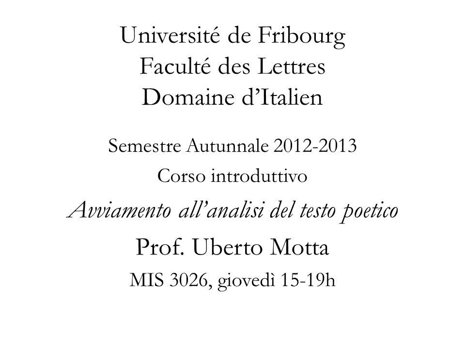 Université de Fribourg Faculté des Lettres Domaine dItalien Semestre Autunnale 2012-2013 Corso introduttivo Avviamento allanalisi del testo poetico Prof.