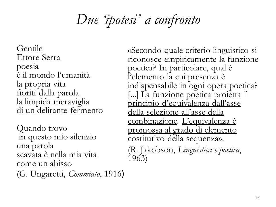 Due ipotesi a confronto Gentile Ettore Serra poesia è il mondo lumanità la propria vita fioriti dalla parola la limpida meraviglia di un delirante fermento Quando trovo in questo mio silenzio una parola scavata è nella mia vita come un abisso (G.