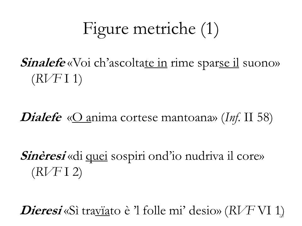 Figure metriche (1) Sinalefe «Voi chascoltate in rime sparse il suono» (RVF I 1) Dialefe «O anima cortese mantoana» (Inf. II 58) Sinèresi «di quei sos