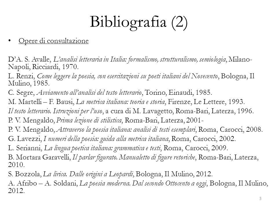 Bibliografia (2) Opere di consultazione DA. S. Avalle, Lanalisi letteraria in Italia: formalismo, strutturalismo, semiologia, Milano- Napoli, Ricciard