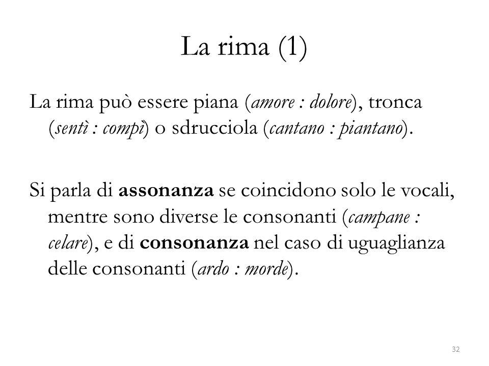 La rima (1) La rima può essere piana (amore : dolore), tronca (sentì : compì) o sdrucciola (cantano : piantano).