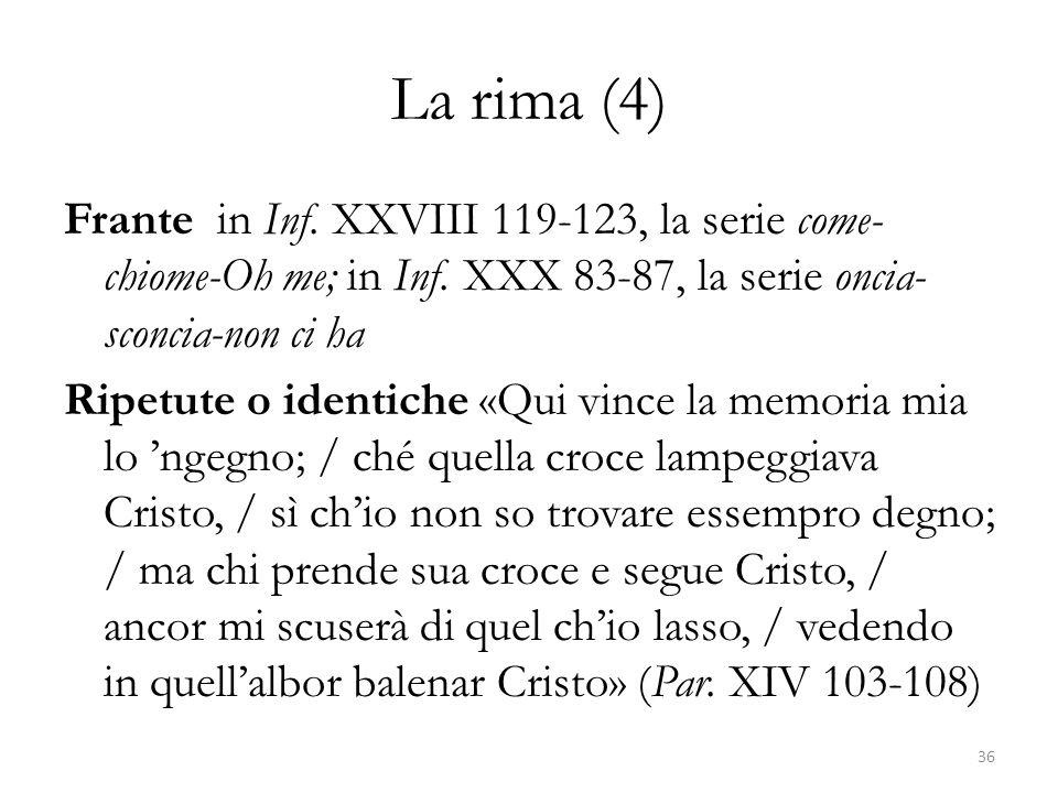 La rima (4) Frante in Inf. XXVIII 119-123, la serie come- chiome-Oh me; in Inf. XXX 83-87, la serie oncia- sconcia-non ci ha Ripetute o identiche «Qui