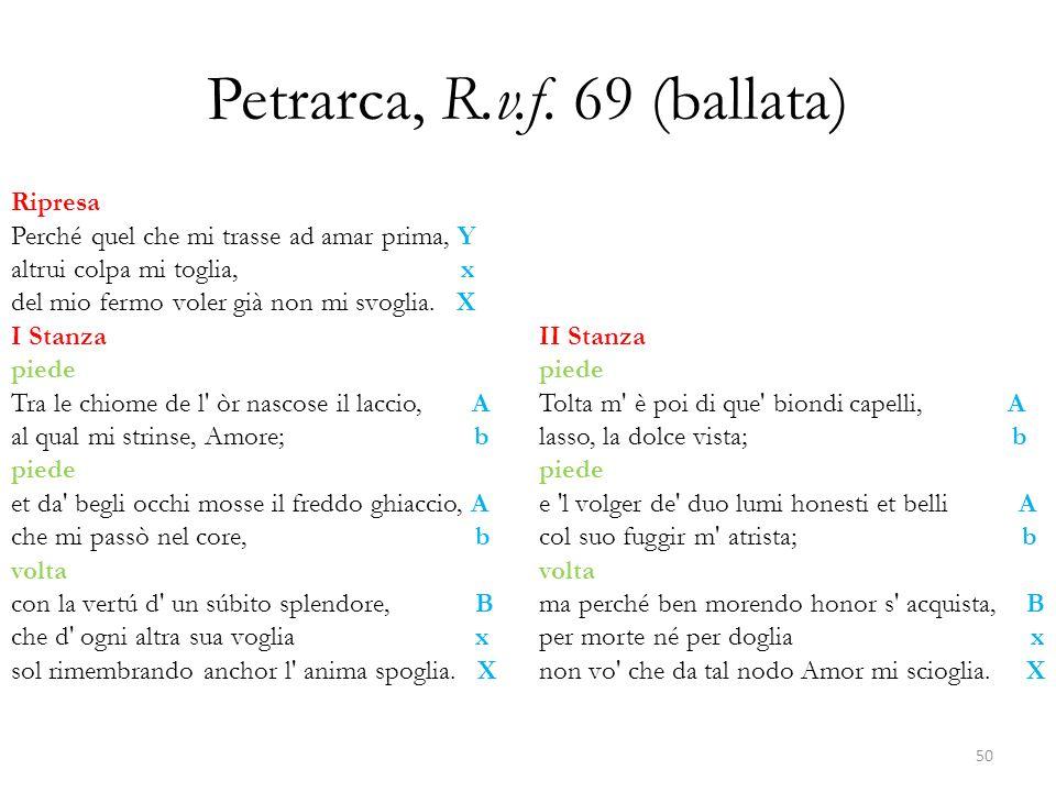 Petrarca, R.v.f. 69 (ballata) Ripresa Perché quel che mi trasse ad amar prima, Y altrui colpa mi toglia, x del mio fermo voler già non mi svoglia. X I