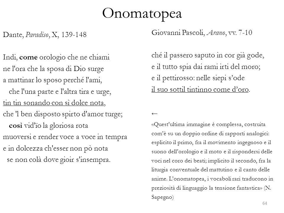 Onomatopea Dante, Paradiso, X, 139-148 Indi, come orologio che ne chiami ne l'ora che la sposa di Dio surge a mattinar lo sposo perché l'ami, che l'un