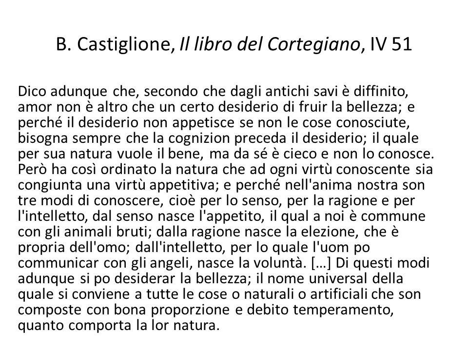 B. Castiglione, Il libro del Cortegiano, IV 51 Dico adunque che, secondo che dagli antichi savi è diffinito, amor non è altro che un certo desiderio d