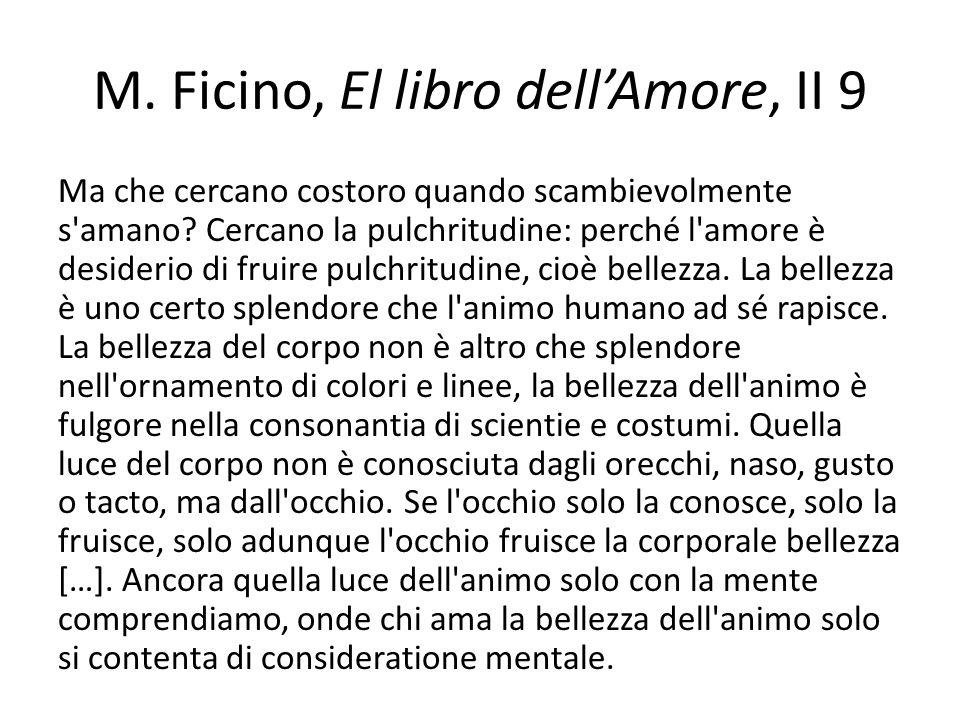 M.Ficino, El libro dellAmore, II 9 Ma che cercano costoro quando scambievolmente s amano.