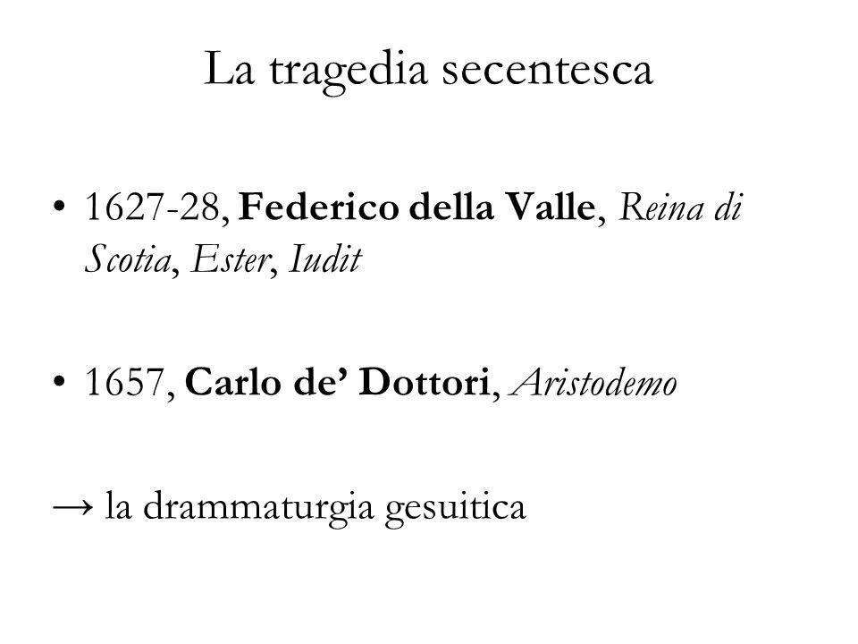 La tragedia secentesca 1627-28, Federico della Valle, Reina di Scotia, Ester, Iudit 1657, Carlo de Dottori, Aristodemo la drammaturgia gesuitica