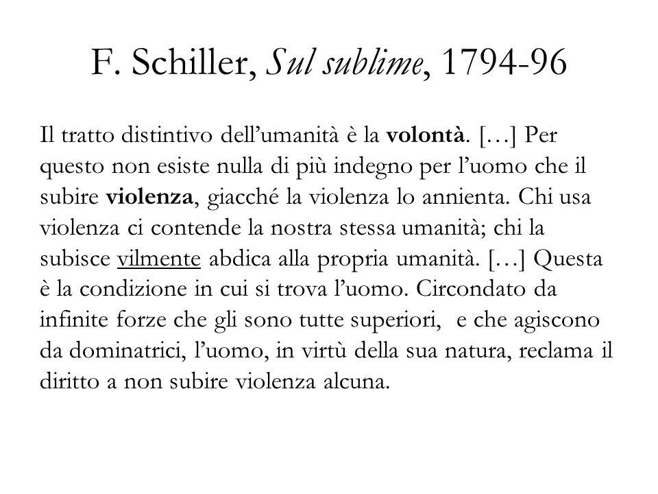 F. Schiller, Sul sublime, 1794-96 Il tratto distintivo dellumanità è la volontà. […] Per questo non esiste nulla di più indegno per luomo che il subir