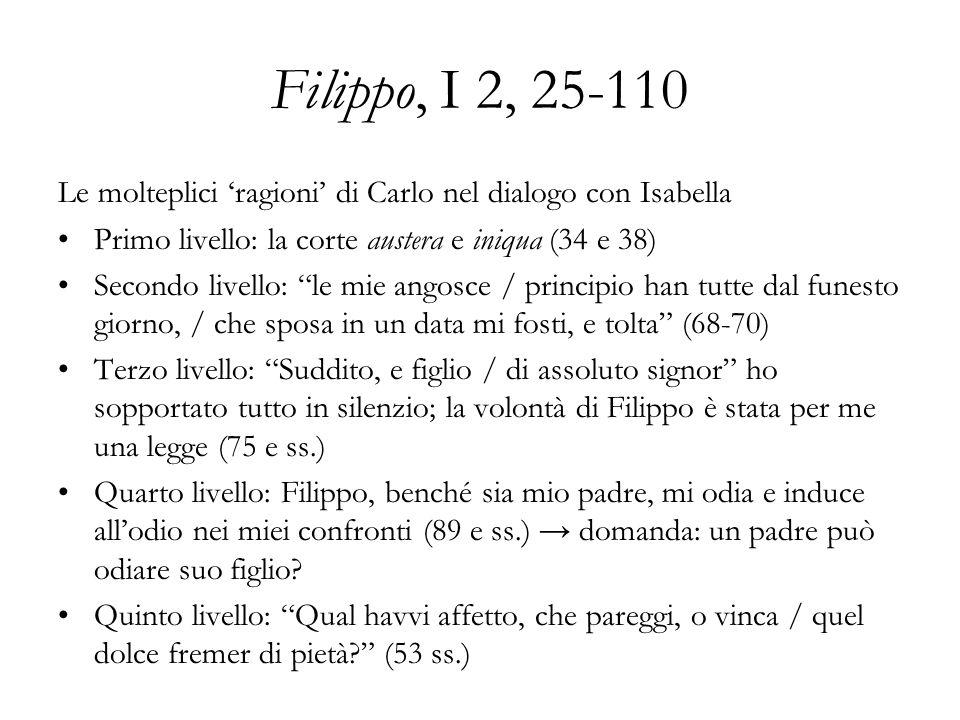 Filippo, I 2, 25-110 Le molteplici ragioni di Carlo nel dialogo con Isabella Primo livello: la corte austera e iniqua (34 e 38) Secondo livello: le mi