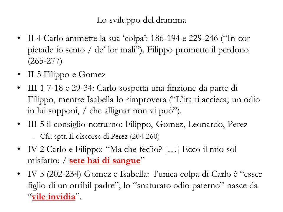 Lo sviluppo del dramma II 4 Carlo ammette la sua colpa: 186-194 e 229-246 (In cor pietade io sento / de lor mali). Filippo promette il perdono (265-27
