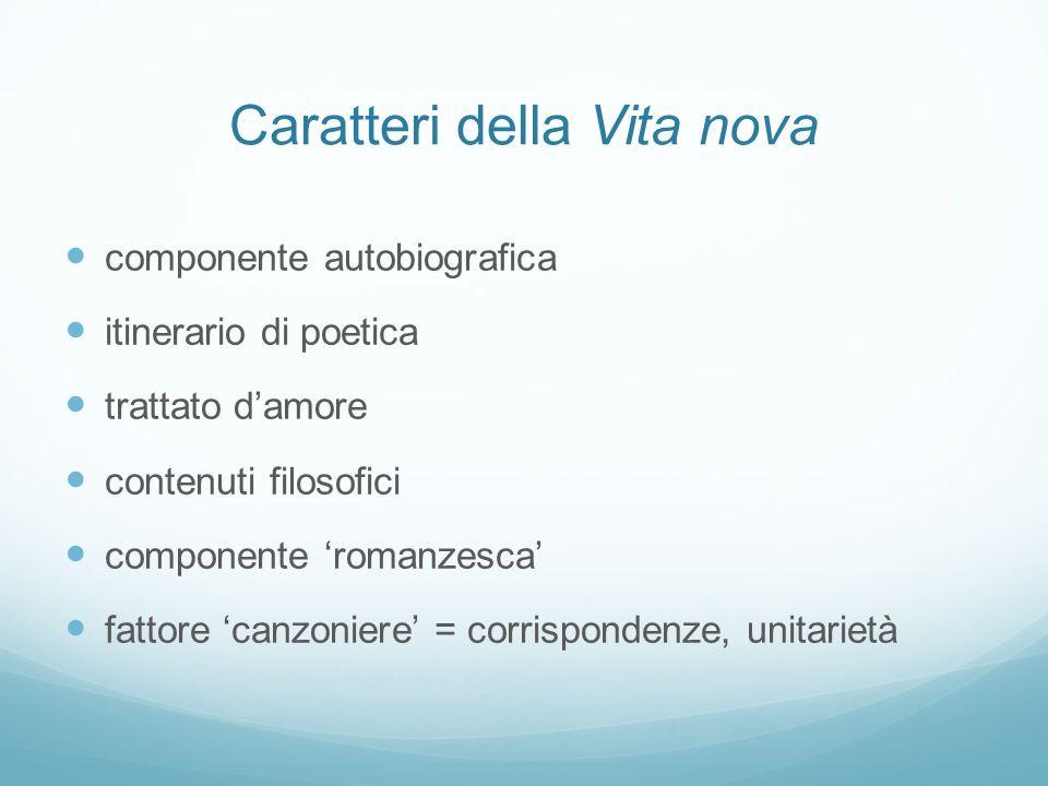 Caratteri della Vita nova componente autobiografica itinerario di poetica trattato damore contenuti filosofici componente romanzesca fattore canzonier