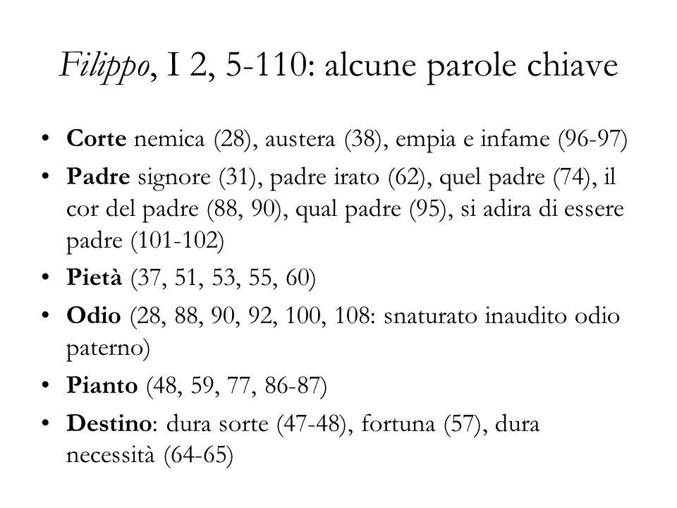 Filippo, I 2, 5-110: alcune parole chiave Corte nemica (28), austera (38), empia e infame (96-97) Padre signore (31), padre irato (62), quel padre (74