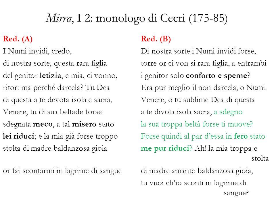 Mirra, II 2: la proposta di matrimonio (201-204) Idea (1784) Altro non desidera – Mirra, sintende – che desser tratta fuori di Pafo Stesura (1785) Mirra: oggi tua, purché domani le vele al vento si diano, e lungi da queste rive mi trasportino i venti per sempre.