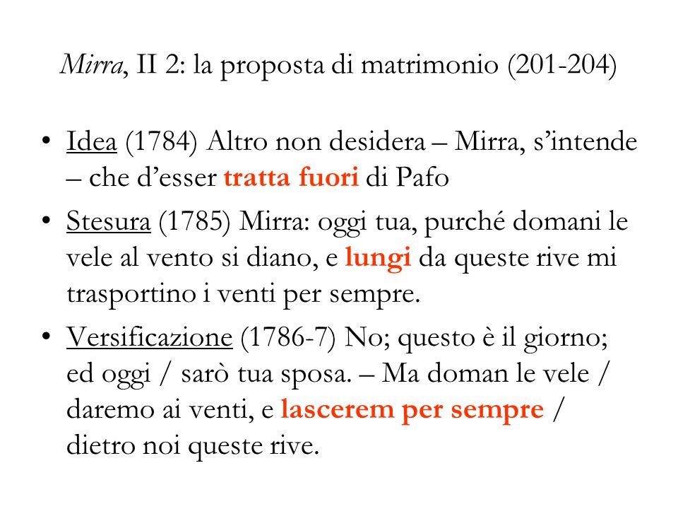 Mirra, II 2: la proposta di matrimonio (201-204) Idea (1784) Altro non desidera – Mirra, sintende – che desser tratta fuori di Pafo Stesura (1785) Mir