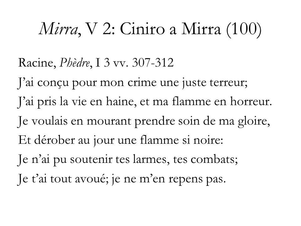 Mirra, V 2: Ciniro a Mirra (100) Racine, Phèdre, I 3 vv. 307-312 Jai conçu pour mon crime une juste terreur; Jai pris la vie en haine, et ma flamme en