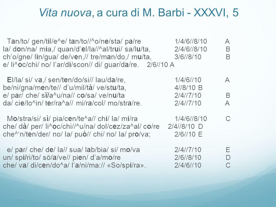 Tan/to/ gen/til/e^e/ tan/to//^o/ne/sta/ pa/re 1/4/6//8/10 A la/ don/na/ mia,/ quan/del/la//^al/trui/ sa/lu/ta, 2/4/6//8/10 B cho/gne/ lin/gua/ de/ven,// tre/man/do,/ mu/ta, 3/6//8/10 B e/ li^oc/chi/ no/ lar/di/scon// di/ guar/da/re.
