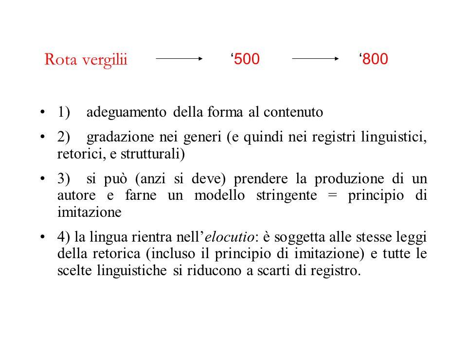 Pietro Bembo, Prose della volgar lingua Petrarca = modello per la poesia Boccaccio = modello per la prosa 1) adeguamento della forma al contenuto 2) g