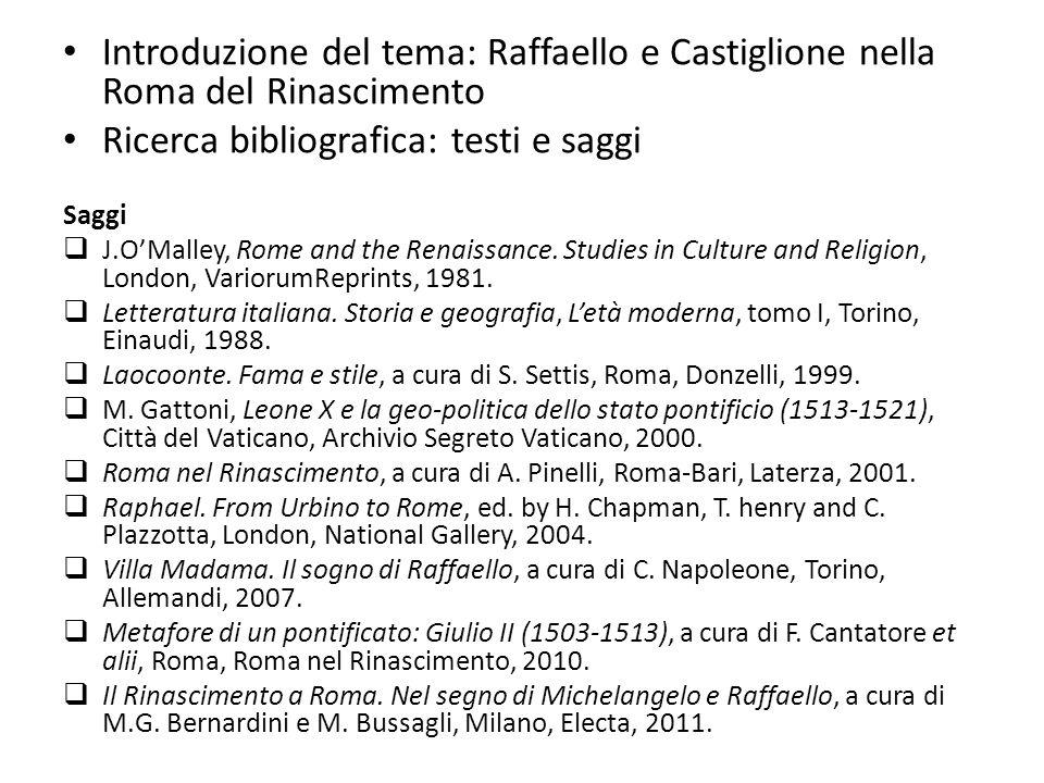 Introduzione del tema: Raffaello e Castiglione nella Roma del Rinascimento Ricerca bibliografica: testi e saggi Saggi J.OMalley, Rome and the Renaissa