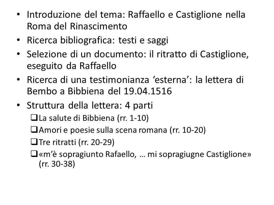 Introduzione del tema: Raffaello e Castiglione nella Roma del Rinascimento Ricerca bibliografica: testi e saggi Selezione di un documento: il ritratto