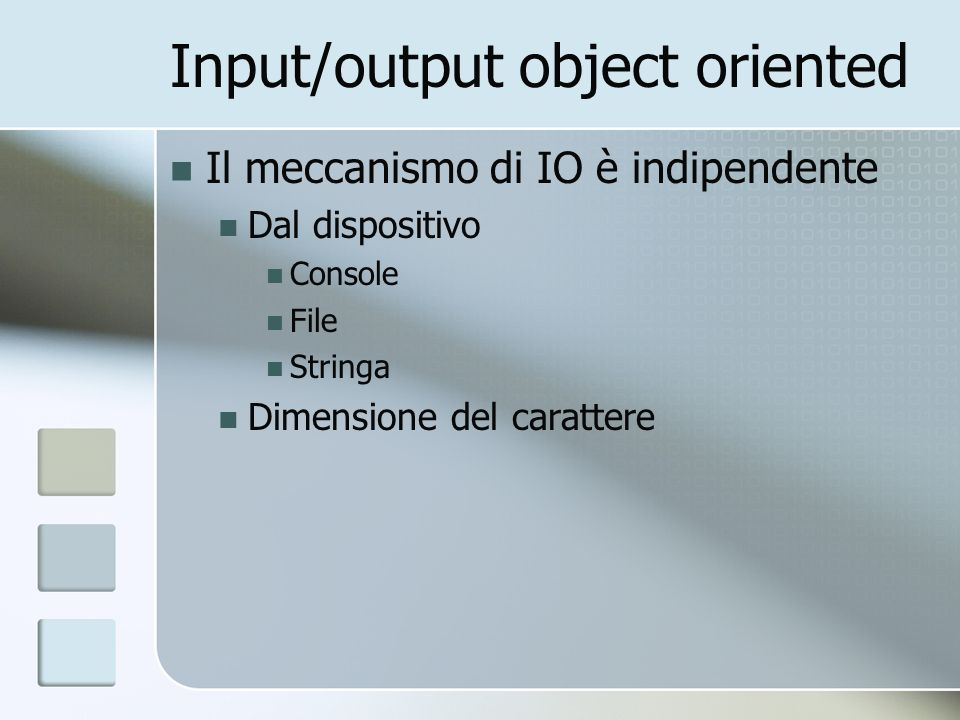 Input/output su file #include ifstream Deriva da istream ofstream Deriva da ostream stream Deriva da iostream