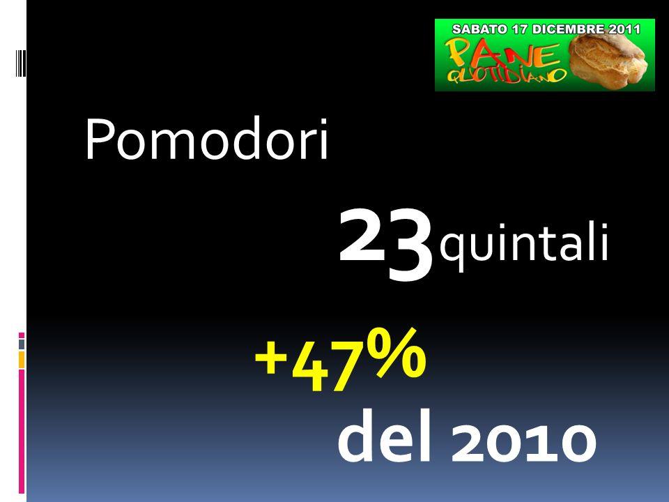 Pomodori 23 quintali +47% del 2010