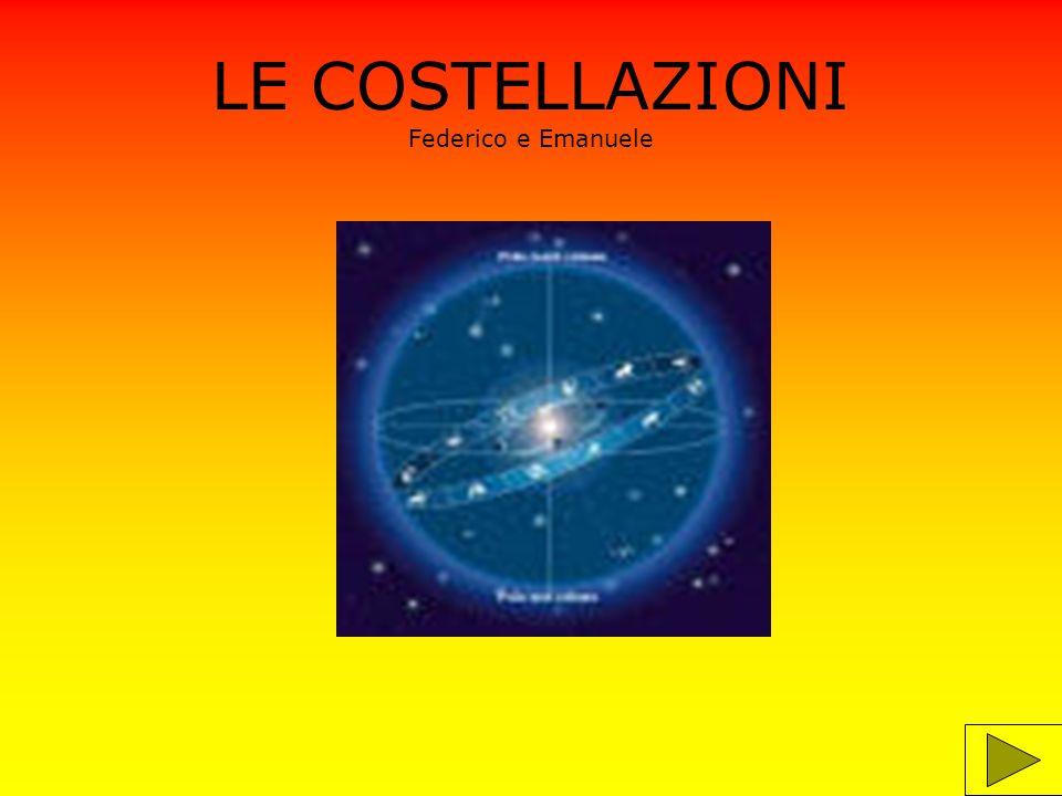 Informazioni Le costellazioni sono un insieme di stelle che occupano una medesima zona della sfera celeste.