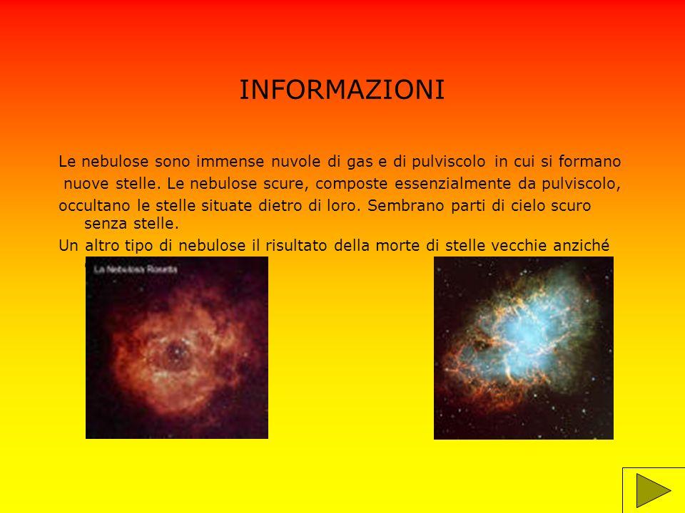 INFORMAZIONI Ci sono nebulose chiamate nebulose planetarie perché assomigliano a dei pianeti.