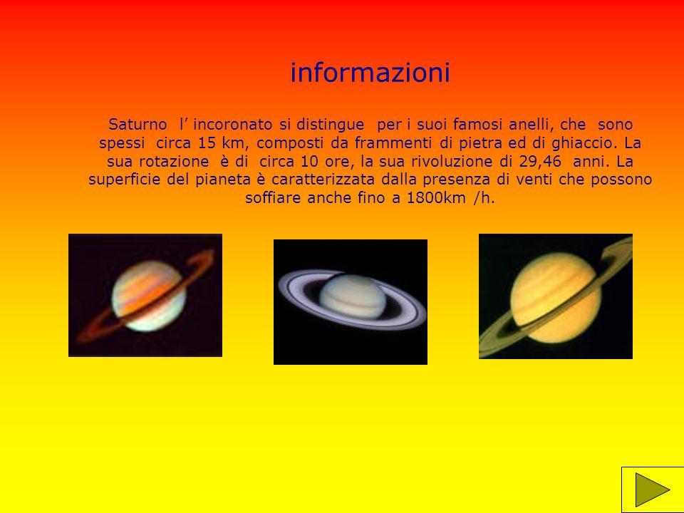 informazioni Saturno orbita intorno al sole a 1430 km di distanza.