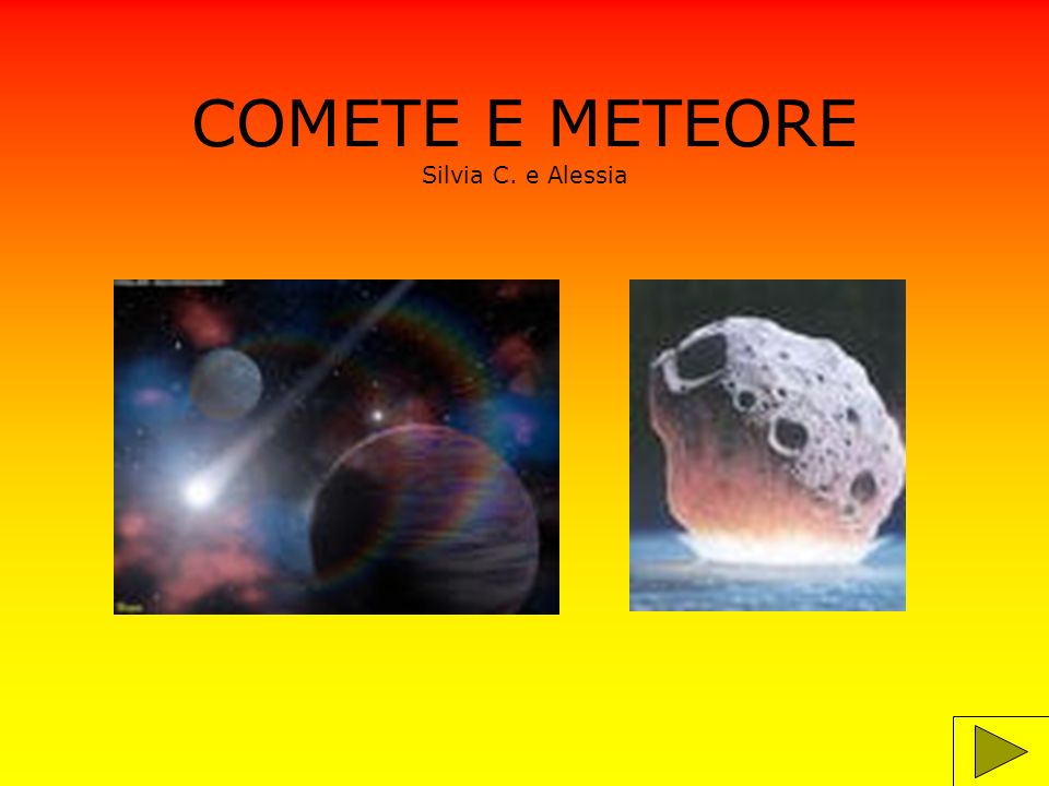 INFORMAZIONI Le comete non sono stelle,ma enormi palle di ghiaccio.Le comete del sistema solare provengono da una zona molto lontana,detta Nube di Hoort.Quando le comete si avvicinano al Sole il loro ghiaccio si scioglie e,evaporando,forma delle scie luminose lunghe migliaia di chilometri.Gli astronomi le chiamano palle di neve sporche nello spazioperché sono fatte di ghiaccio e pulviscolo.Hanno una lunga coda e a volte due.Le comete ruotano intorno al Sole come i pianeti,ma hanno un orbita molto allungata ed ellittica che le porta vicino al Sole,ma anche molto lontano,spesso al di là del sistema solare.
