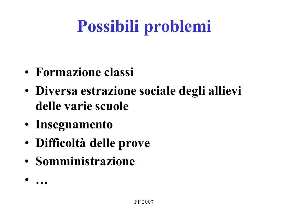 FF 2007 Possibili problemi Formazione classi Diversa estrazione sociale degli allievi delle varie scuole Insegnamento Difficoltà delle prove Somministrazione …