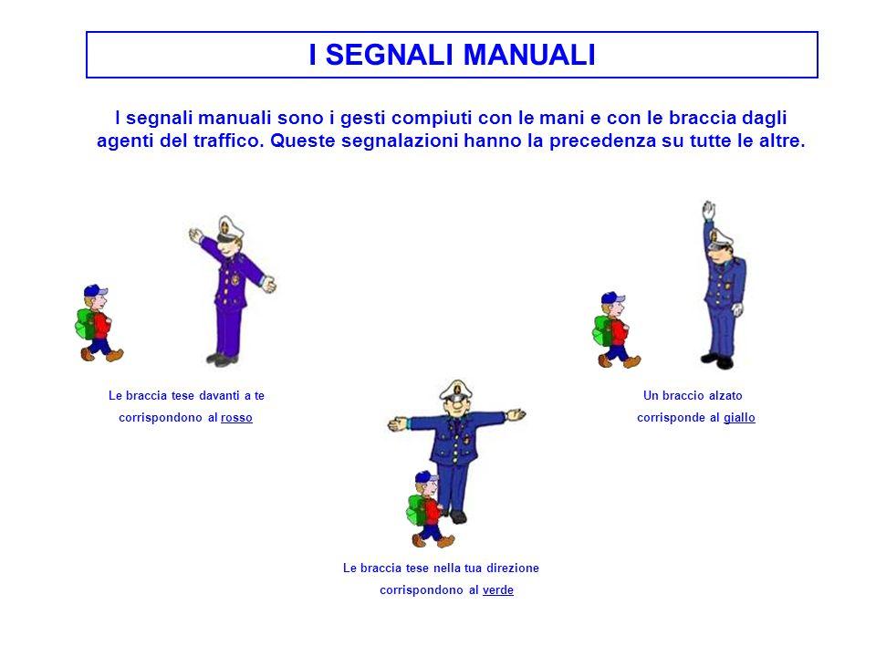 I SEGNALI MANUALI I segnali manuali sono i gesti compiuti con le mani e con le braccia dagli agenti del traffico. Queste segnalazioni hanno la precede