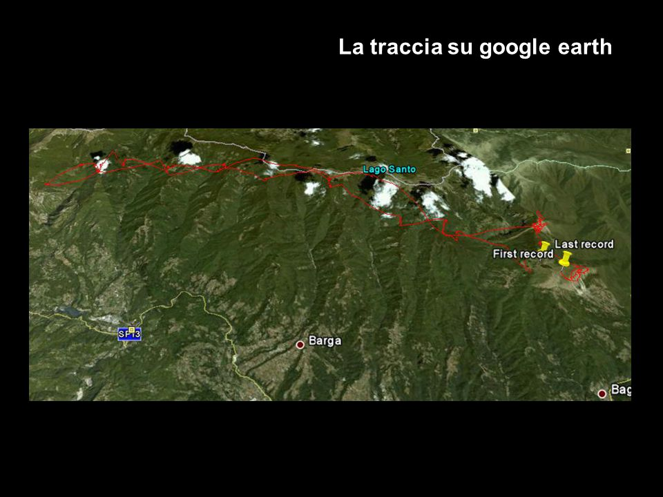 La traccia su google earth
