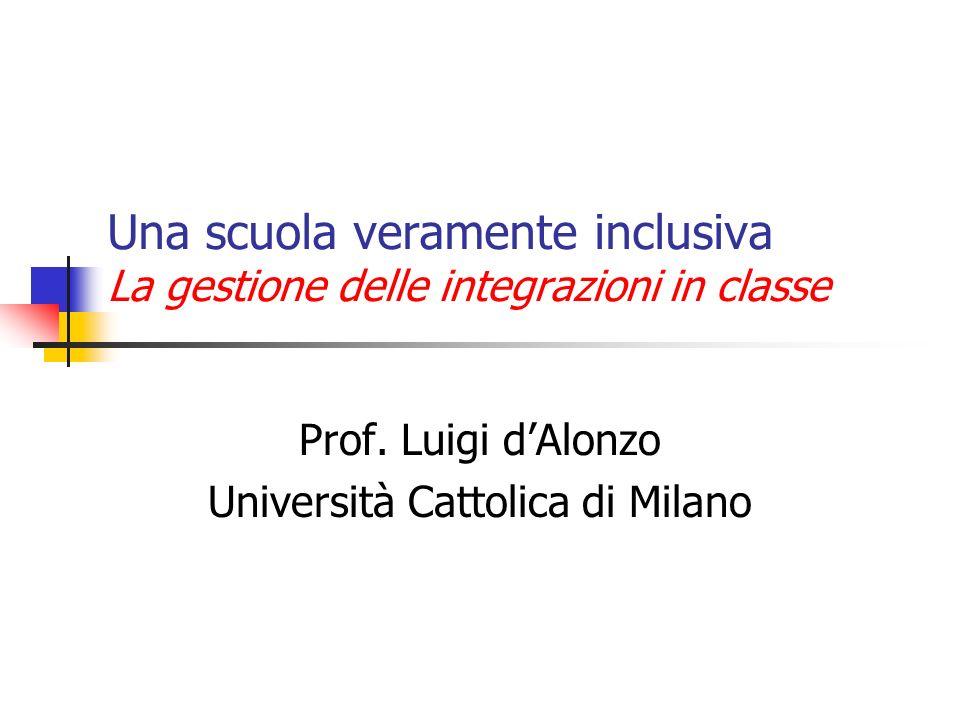 Una scuola veramente inclusiva La gestione delle integrazioni in classe Prof.
