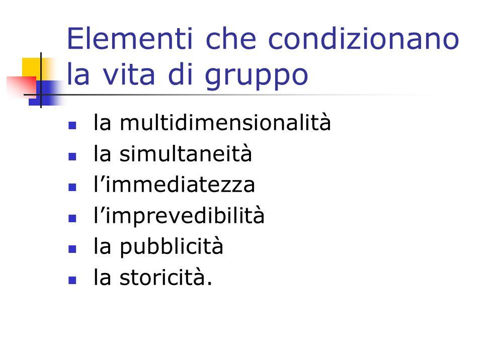 Elementi che condizionano la vita di gruppo la multidimensionalità la simultaneità limmediatezza limprevedibilità la pubblicità la storicità.