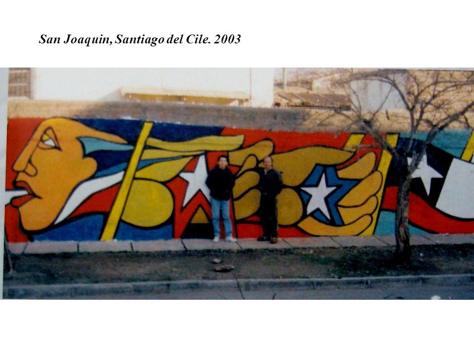 Murales realizzato in occasione del cambiamento del nome dello stadio Chile in stadio Victor Jara, cantautore e musicista cileno assassinato dai militari in quel campo sportivo, dove fu torturato tagliandogli le mani prima di venire ucciso.