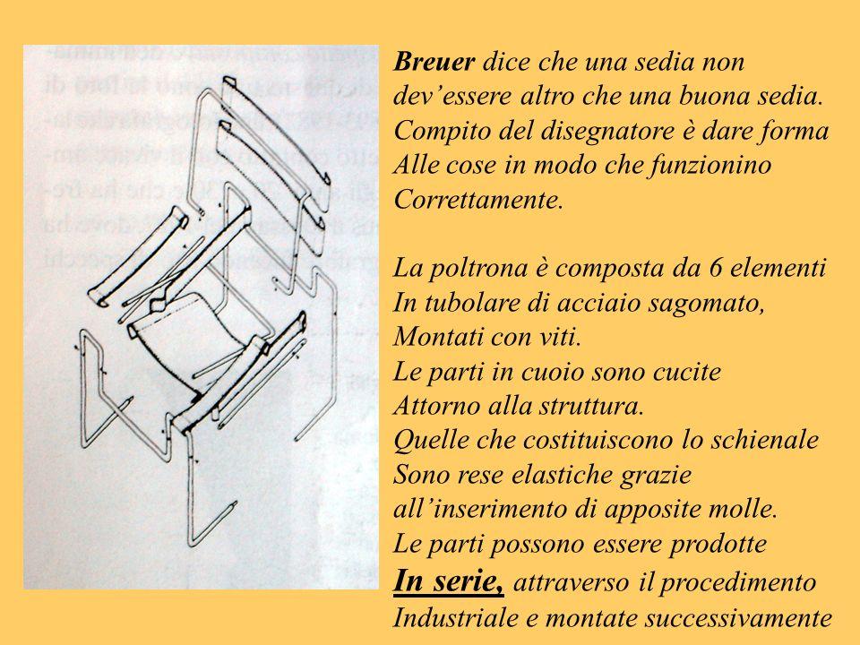 Breuer dice che una sedia non devessere altro che una buona sedia. Compito del disegnatore è dare forma Alle cose in modo che funzionino Correttamente