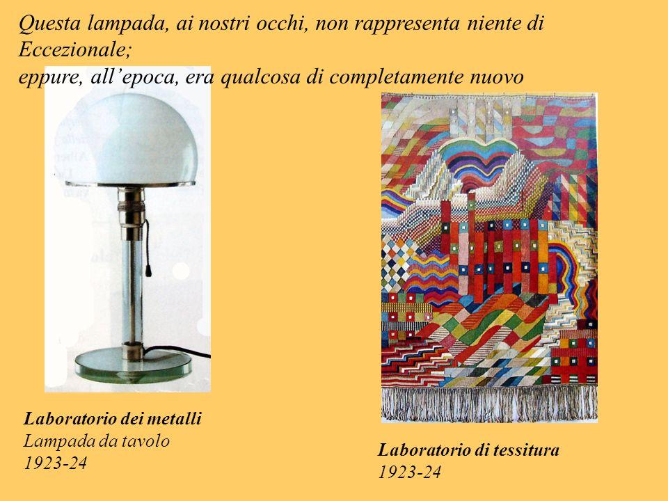 Laboratorio dei metalli Lampada da tavolo 1923-24 Questa lampada, ai nostri occhi, non rappresenta niente di Eccezionale; eppure, allepoca, era qualco