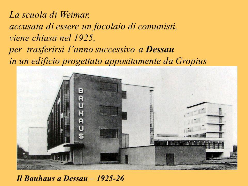 La scuola di Weimar, accusata di essere un focolaio di comunisti, viene chiusa nel 1925, per trasferirsi lanno successivo a Dessau in un edificio prog