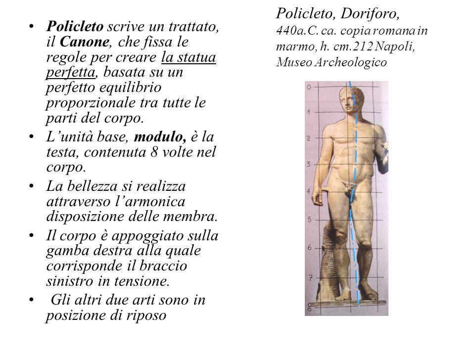 Policleto, Doriforo, 440a.C. ca. copia romana in marmo, h. cm.212 Napoli, Museo Archeologico Policleto scrive un trattato, il Canone, che fissa le reg