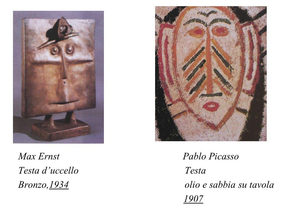 Max Ernst Pablo Picasso Testa duccello Testa Bronzo,1934 olio e sabbia su tavola 1907