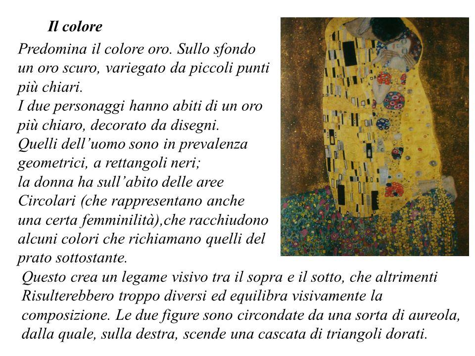 Il colore Predomina il colore oro. Sullo sfondo un oro scuro, variegato da piccoli punti più chiari. I due personaggi hanno abiti di un oro più chiaro