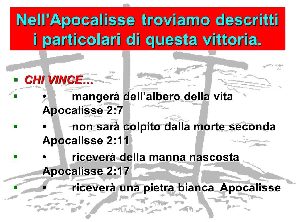 Nell'Apocalisse troviamo descritti i particolari di questa vittoria. CHI VINCE… CHI VINCE… mangerà dellalbero della vita Apocalisse 2:7mangerà dellalb