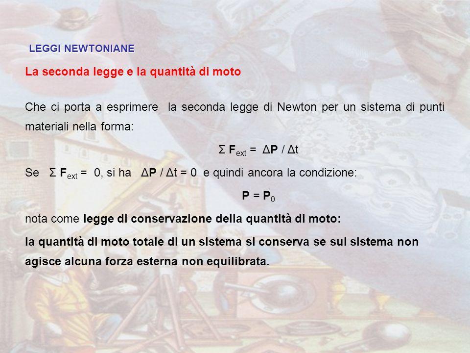 LEGGI NEWTONIANE La seconda legge e la quantità di moto Che ci porta a esprimere la seconda legge di Newton per un sistema di punti materiali nella fo