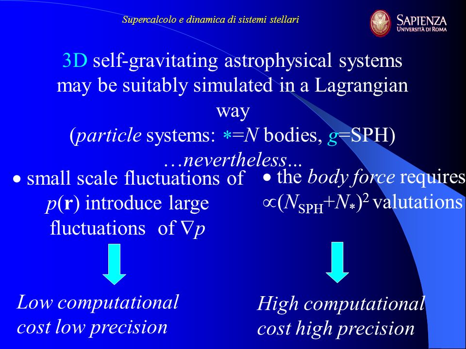 small scale fluctuations of p(r) introduce large fluctuations of p 3D self-gravitating astrophysical systems may be suitably simulated in a Lagrangian way (particle systems: =N bodies, g=SPH) …nevertheless...